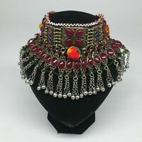 "12""x5"" Kuchi Choker Multi-Color Tribal Gypsy Bohemian Statement Bells,CK551"