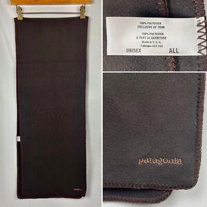 "Vintage Patagonia Brown Micro Fleece Scarf Made in USA 13"" x 70"" Unisex EUC!"