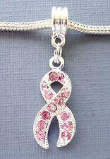 Pendant European charm bead Rhinestone Breast Cancer Awareness Pink Ribbon C26