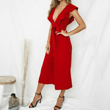 #6 Women's Deep-V Rompers Solid Short Sleeve Ruffles Long Jumpsuit Red SIZE S
