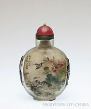 "Vivid Old Handmade Inside Painted ""Lotus & Birds"" Glass Snuff Bottle"