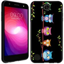 for LG Fiesta(Owls on a branch)Black TPU gel skin phone case cover