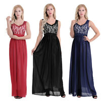 Womens Lace Formal Gown Cocktail Evening Party V Neck Bridesmaid Long Dress