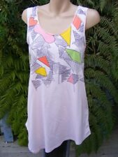 Cotton Blend Geometric Sleeveless T-Shirts for Women