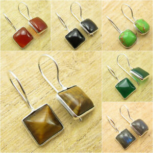 TIGER'S EYE & Other Gemstones, FASHIONABLE Earrings ! 925 Silver Plated Jewelry