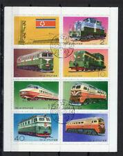 Kleinbogen Zusammendruck Korea Eisenbahn Lokomotiven gestempelt