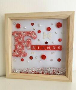 3d deep box frame. FRIENDS, red, white, christmas gift, Thank you gift