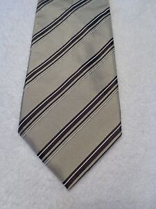 BANANA REPUBLIC MENS TIE BEIGE AND BROWN STRIPED 3.75 X  57 NWOT