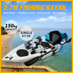 MOBI 2.7M Fishing Kayak Single Sit-on Rod Holder Canoe Seat Paddle Blue Camo