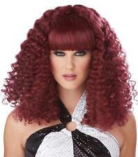 Burgundy Disco Lady Spiral Curl Wig with Bangs
