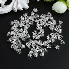 100Pcs/Set 6x5mm Filigree Flower Cup Shaped Bead Caps Jewelry Accessories Silver