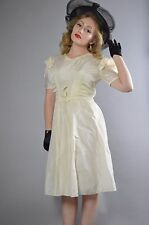 Late 1930's/Early 1940's White Rayon Day Dress