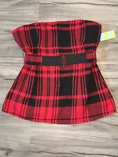 NWT FOREVER 21 BUFFALO PLAID CORSET STYLE TUBE TOP SHIRT BLOUSE L LARGE