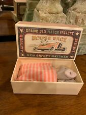 NEW Maileg Big Sister Mouse Race in Match Box Orange Striped Dress