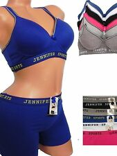 Women's Sports Bra Spandex Cotton Racer Back T-Back Seamless Separates