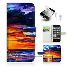 iPhone 5 5S Print Flip Wallet Case Cover! Twilight Sea Painting Art P0042