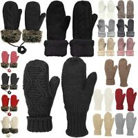 Womens Winter Fleece Lined Warm Cuffed Knit Mittens