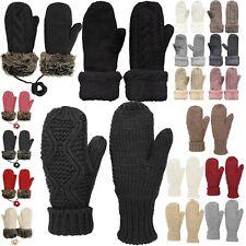 Womens Winter Fleece Lined Warm Cuffed Knit Mittens