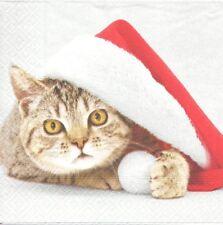 2 Serviettes papier Chat Bonnet de Noël Decoupage Paper Napkins Santa Cat