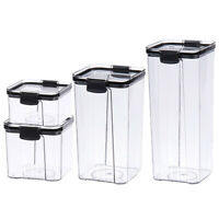 Airtight Pantry & Kitchen Storage Containers 4 Square Plastic Food ContainQ6W1