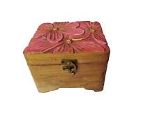 Keepsake Handcraft Wooden Jewelry box Engrave Flower  Painted Box Thai trinket