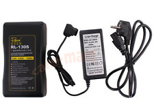 Rolux Sony V-mount Camera V-Lock Li-ion Battery 130Wh RL-130S+DC Charger Adapter