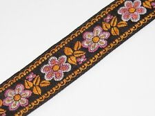 black and orange detail vintage jacquard woven 20mm R038