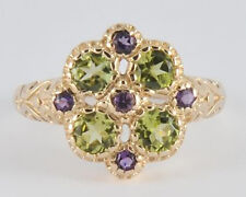 R107 - GENUINE 9K Gold NATURAL Peridot & Amethyst Blossom Floral Ring size N