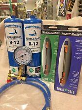 R12, Refrigerant 12, Virgin R-12, 2 Cans Gauge, Hose, Pro-Seal Xl4 Pro-Dry Kit