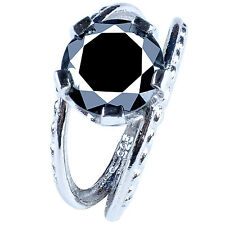 Sterling Silver Engagement Ring Size 8 5.83+Ct Black Color Moissanite Round 925