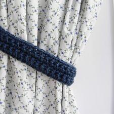 Solid Denim Medium Blue Curtain Tiebacks Tie Backs Crochet Knit Basic Simple