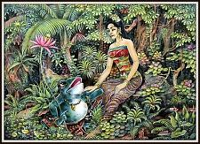 """Keliki Kawan Miniature Traditional Painting from Bali""  Signed  (6""H x 8.25""W)"