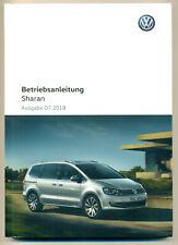 VW SHARAN  Betriebsanleitung Bedienungsanleitung  2018