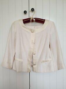 MINUET Ladies Cream Satin Effect 3/4 Sleeves Jacket Size 10 Party Wedding