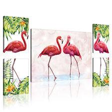 SET (5 teilig) CANVAS Leinwand Bild Modern Flamingo Blatt Foto Vogel 3FX11157S14