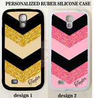 CUSTOM BLACK GOLD PINK CHEVRON MONOGRAM Case For Samsung Galaxy S7 S6 NOTE 5 4 3