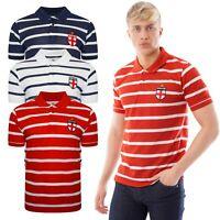 England Mens Polo Shirts Striped Pique Collar T-Shirt Football Short Sleeve Tops
