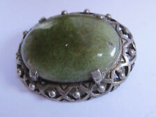"VINTAGE SILVER TONE & AGATE "" MIRACLE "" BROOCH"