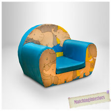 Elephants Blue Childrens Kids Comfy Foam Chair Toddlers Armchair Seat Chair