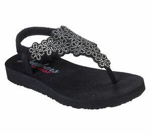 Skechers Meditation Floral Lover Summer Shoes Sandal Ladies in Black/Silver