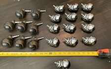 """21 QTY! HUGE LOT Round  2""""  1.5"""" Ballbearing Caster Wheels Bolted Brass finish"""