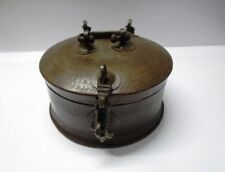ORIGINAL OLD HAND CRAFTED ENGRAVED ROUND CHAPATI BREAD BOX RUSTIC HOME DECOR A52