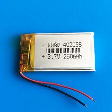 3.7V lipo polymer battery cells 250mAh For MP3 GPS PSP Headset Bluetooth 402035
