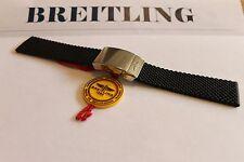 100% Authentique Breitling Noir Aero en Caoutchouc Classique Déploiement Bracelet 24-20 M & Fermoir