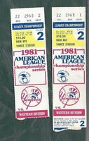 1981 ALCS ticket stub lot of 2 Oakland vs New York Yankees Gm 2 Lou Piniella HR