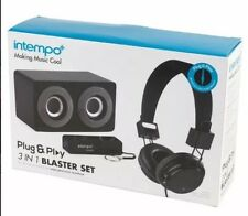 Intempo 3 in 1 Blaster Set Speaker Headphones Mobile Phone Power Bank, Black