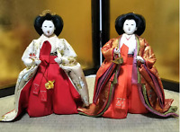 LOT 2 Vintage Japanese Hina dolls in Kimono Geisha Plush Figure Lovely Kawaii