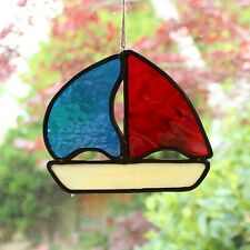 Stained glass hanging boat