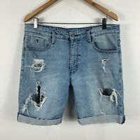 Thrills Byron Bay Mens Denim Shorts Size 36 Blue Distressed