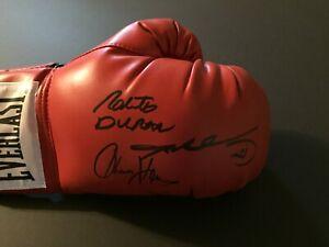 Sugar Ray Leonard & Thomas Hearns & Roberto Duran Signed Boxing Glove - Beckett